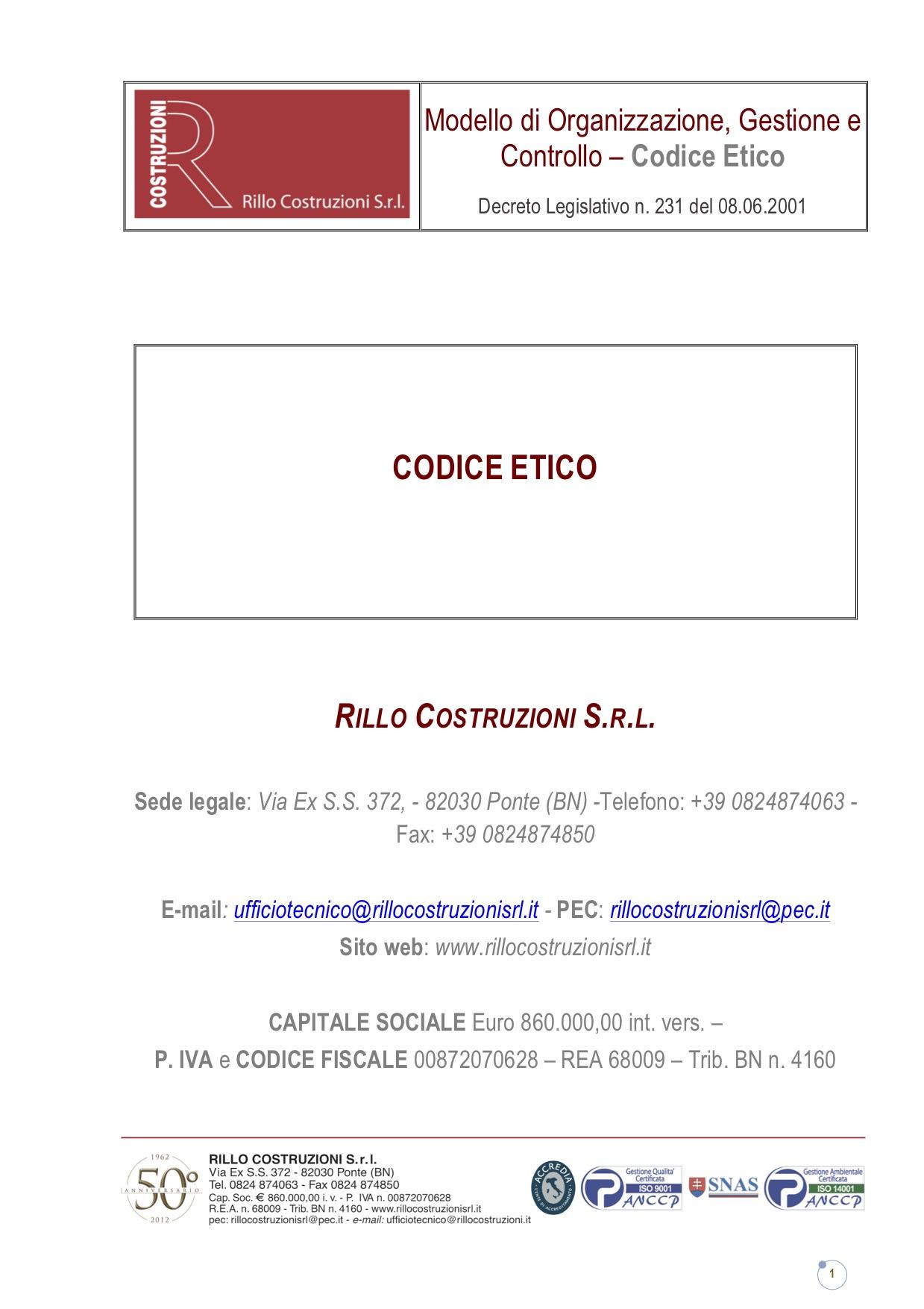 Codice Etico Rillo Costruzioni